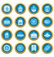 black friday icons blue circle set vector image