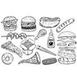 set of hand drawn fast food burger pizza hot dog vector image
