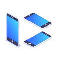 3d isometric mobile phone left top view vector image vector image
