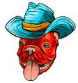 a dog in cowboy hat vector image vector image