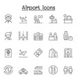 airport icon set in thin line style vector image vector image