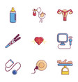 baby health icons set flat style vector image vector image