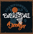 basketball t-shirt print design for apprel vector image vector image