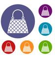 beautiful bag icons set vector image vector image