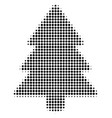 black dotted fir-tree icon vector image