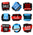 black friday and cyber monday sale banner with big vector image vector image