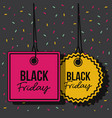 black friday promotional tags magenta and yellow vector image