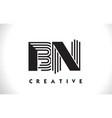 bn logo letter with black lines design line letter vector image vector image