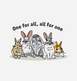 brave group rabbits hare and sign poster vector image vector image