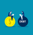 business people working on profit and debt vector image vector image
