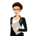 Business woman is wearing black suit isolated on vector image vector image
