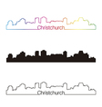Christchurch skyline linear style with rainbow vector image vector image