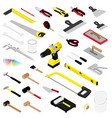 collection diy hand tools isolated on white vector image