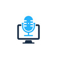 computer podcast logo icon design vector image