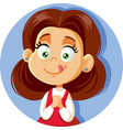 cute cartoon little girl craving for sweets vector image vector image