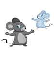 Cute little grey cartoon mouse vector image