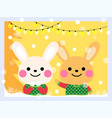 cute rabbits wear an ugly sweater vector image vector image