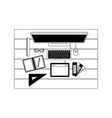 desktop computer and drawing tools over desk on vector image
