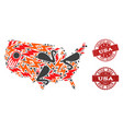 disaster composition of mosaic map of usa and vector image vector image