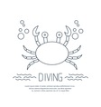 Diving icon with crab and bubbles vector image vector image