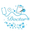 doctor title with medical instruments vector image vector image