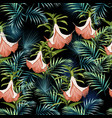 flowers and palm leaves seamless pattern vector image vector image
