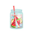 glass jar of delicious detox drink with ginger and vector image vector image