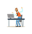 happy man working on the computer in the office vector image vector image