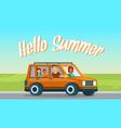 hello summer horizontal banner happy family travel vector image vector image