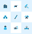 industrial icons colored set with pencil building vector image