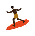 male surfer riding surfboard catching waves vector image vector image
