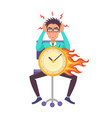 man angry about being late vector image