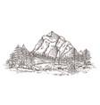 mountain landscape sketch nature doodle drawing vector image vector image