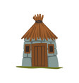 old stone house with thatched roof vector image vector image