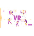 people use virtual and augmented reality vector image