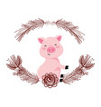 pig with flower arrangement vector image vector image