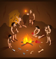 primitive people cave composition vector image vector image