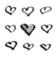 set of hearts drawn with a marker vector image