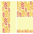 Set of wheat plants seamless pattern and borders vector image