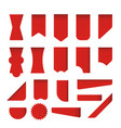 set red labels stickers corners vector image