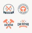 set vintage mechanic labels emblems and logo vector image