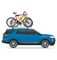 side view suv car with two bicycles mounted on the vector image vector image