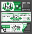 Soccer sports bar football pub menu banners