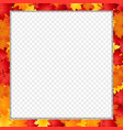 square photo frame with fallen autumn maple vector image