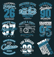 t-shirt stamp graphic set sport wear typography vector image vector image
