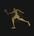 tennis player silhouette gold glitter splash art vector image vector image