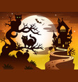 theme with halloween silhouette 1 vector image vector image