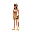 tigress woman in costume with ears tail party vector image vector image