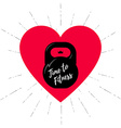Time to fitness - with kettlebell and heart vector image