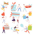 tiny people carrying huge gift boxes set tiny vector image vector image